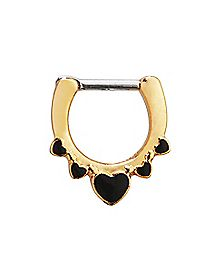Goldtone Heart Clicker Septum Ring - 16 Gauge