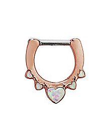 Rose Goldtone Opal-Effect Heart Clicker Septum Ring - 16 Gauge