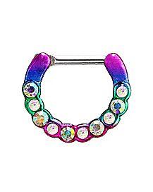 Rainbow CZ Clicker Septum Ring - 16 Gauge