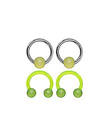 Green Glow in the Dark Horseshoe Barbells 4 Pack - 16 Gauge