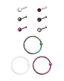 Multi-Pack Rainbow CZ Bone Nose Rings and Hoop Nose Rings 9 Pack - 20 Gauge