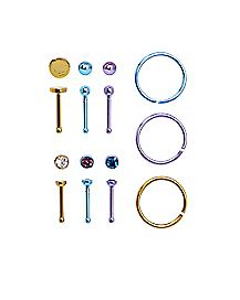 Multi-Pack Colored CZ Nose Rings 9 Pack - 20 Gauge