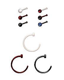 Multi-Pack CZ Bone Nose Rings and Hoop Nose Rings 9 Pack - 20 Gauge