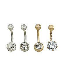 Multi-Pack Rose Goldtone CZ Belly Rings 4 Pack - 14 Gauge