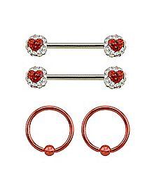 Multi-Pack CZ Captive Nipple Rings and Nipple Barbells 2 Pair - 14 Gauge