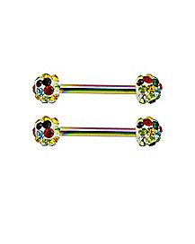 Rainbow CZ Nipple Barbells 1 Pair - 14 Gauge