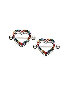 Rainbow CZ Heart Nipple Shields 1 Pair - 14 Gauge