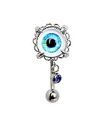 Eyeball CZ Top Dangle Belly Ring - 14 Gauge
