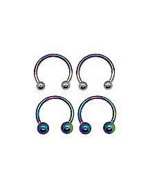 Multi-Pack Rainbow Horseshoe Rings 2 Pair - 16 Gauge