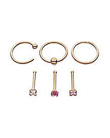 Multi-Pack Rose Goldplated CZ Stud Nose Rings and Hoop Nose Rings 6 Pack - 20 Gauge