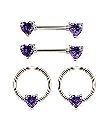 Multi-Pack CZ Heart Captive Nipple Rings and Nipple Barbells 2 Pair - 14 Gauge