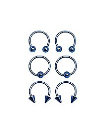 Multi-Pack Blue Captive Rings and Horseshoe Rings 3 Pair - 16 Gauge