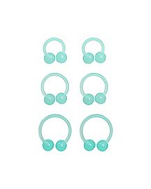 Multi-Pack Blue Glow In The Dark Horseshoe Rings 3 Pair - 16 Gauge