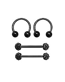 Multi-Pack CZ Nipple Barbells and Horseshoe Rings 2 Pair - 14 Gauge