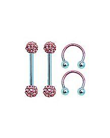 Multi-Pack CZ Nipple Barbells and Horseshoe Rings 2 Pair - 14 Gauge
