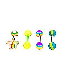 Multi-Pack Star Rainbow Barbells 4 Pack - 14 Gauge
