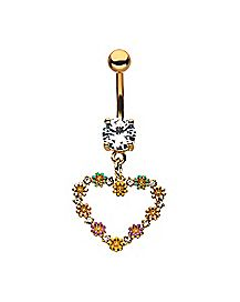 Goldplated CZ Flower Heart Dangle Belly Ring - 14 Gauge