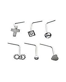 Multi-Pack Cross Heart CZ L Bend Nose Rings 6 Pack - 20 Gauge