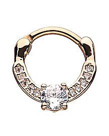 Rose Goldtone CZ Clicker Septum Ring - 16 Gauge