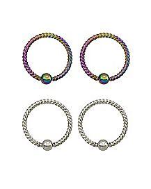 Multi-Pack Rainbow Twisted Captive Rings 2 Pair - 16 Gauge