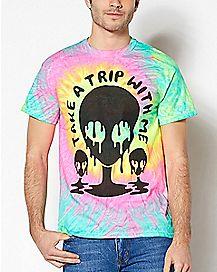 Take A Trip With Me Tie Dye Alien T Shirt