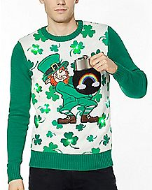 Shamrock Light-Up Leprechaun St. Patrick's Day Sweater