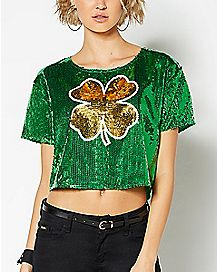 Shamrock Sequin St. Patrick's Day Cropped Jersey