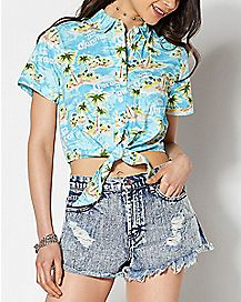 Cropped Corona Button Down Shirt