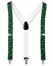 Checkered Shamrock St. Patrick's Day Suspenders