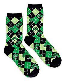 Argyle Shamrock Crew Socks