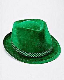 Green Checkered Fedora Hat