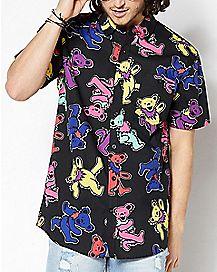 Rainbow Bear Grateful Dead Button Down Shirt