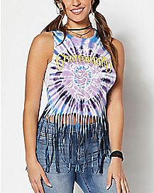 Fringed Tie Dye Grateful Dead Tank Top