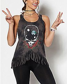 Fringed Skull Grateful Dead Tank Top