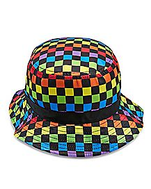 Rainbow Checkered Bucket Hat