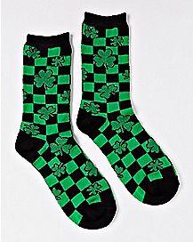 Checkered Shamrock Crew Socks