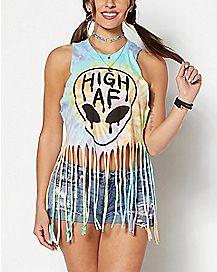 High AF Alien Tie Dye Fringe Tank Top