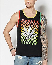 37db9e932414ed Checkered Leaf Tank Top