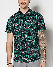 Get High Flamingo Button Down Shirt