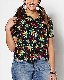 Rasta Weed Leaf Button Down Shirt