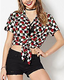 Checkered Rose Button Down Shirt