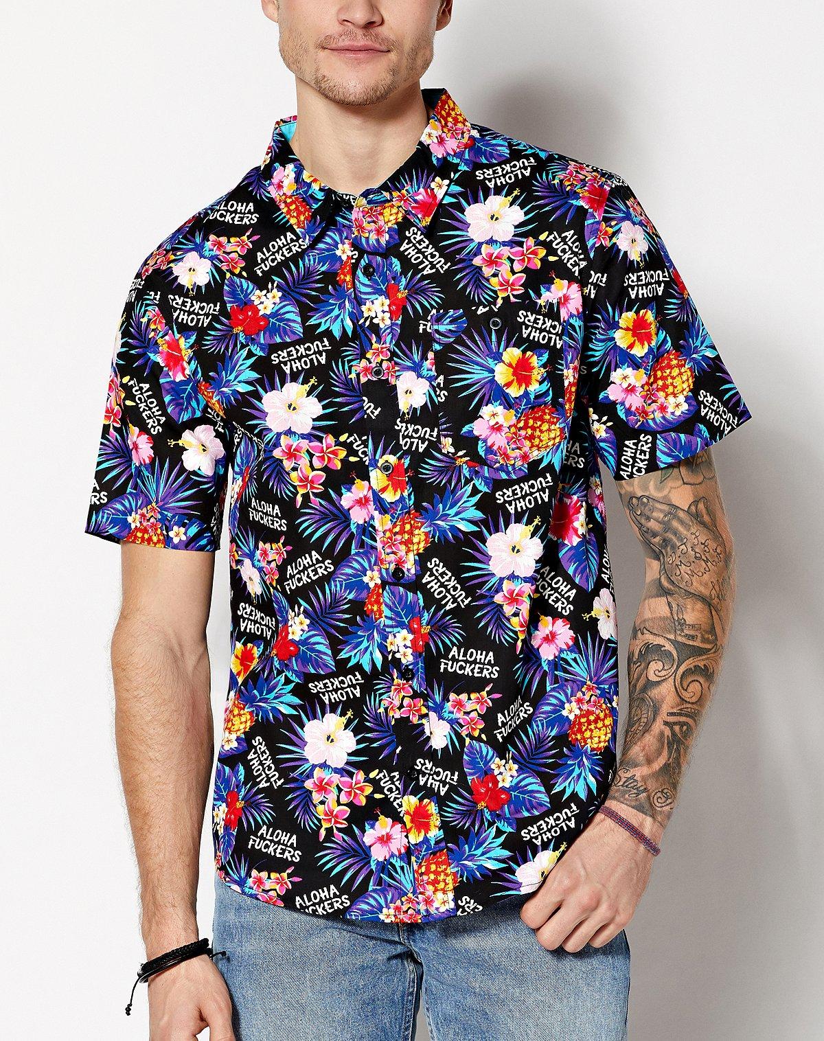 aloha fuckers floral button down shirt
