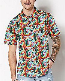 Tie Dye Weed Leaf Button Down Shirt