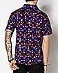 Galaxy Checkered Alien Button Down Shirt