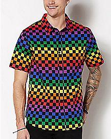 Checkered Rainbow Button Down Shirt