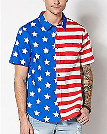 American Flag Button Down Shirt