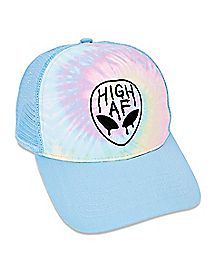 High AF Tie Dye Alien Trucker Hat