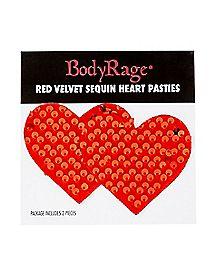 Red Sequin Heart Nipple Pasties