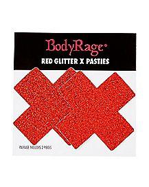 Red Glitter X Nipple Pasties