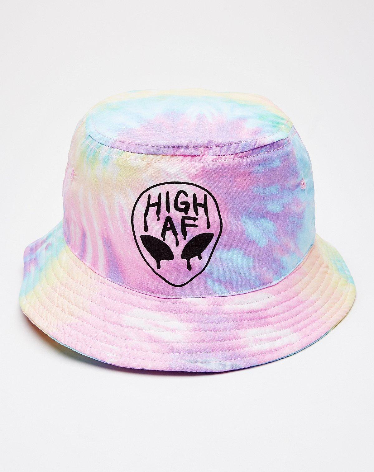 tie dye high af alien bucket hat